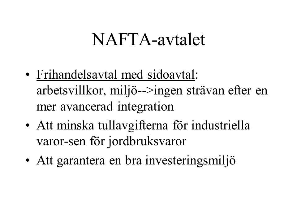 NAFTA-avtalet Frihandelsavtal med sidoavtal: arbetsvillkor, miljö-->ingen strävan efter en mer avancerad integration.
