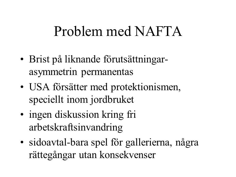 Problem med NAFTA Brist på liknande förutsättningar-asymmetrin permanentas. USA försätter med protektionismen, speciellt inom jordbruket.