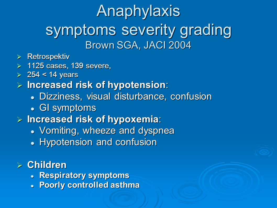 Anaphylaxis symptoms severity grading Brown SGA, JACI 2004