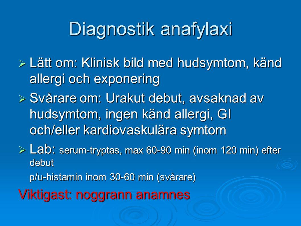 Diagnostik anafylaxi Lätt om: Klinisk bild med hudsymtom, känd allergi och exponering.