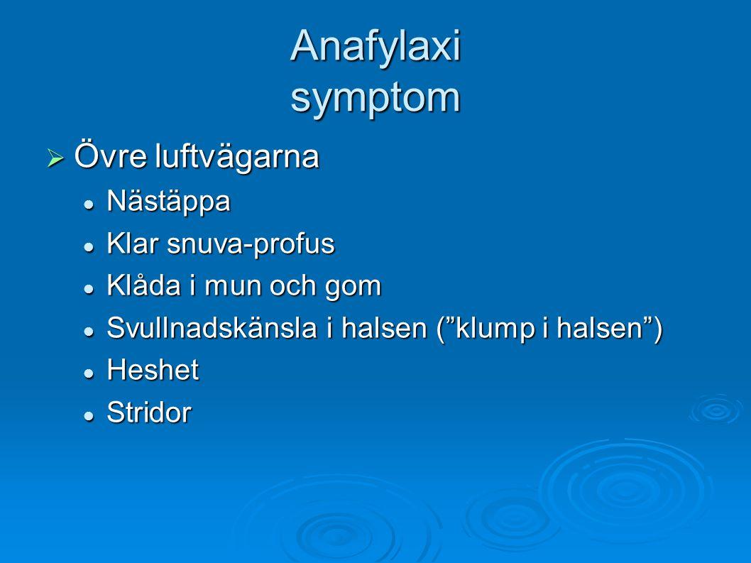 Anafylaxi symptom Övre luftvägarna Nästäppa Klar snuva-profus