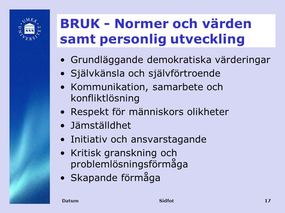 BRUK - Normer och värden samt personlig utveckling