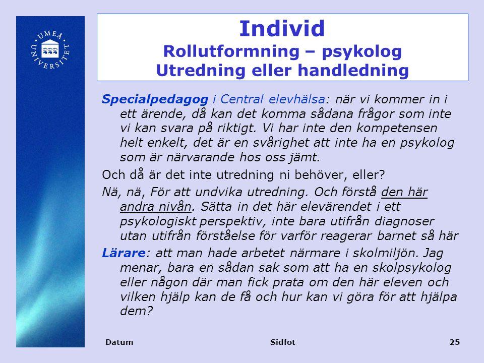 Individ Rollutformning – psykolog Utredning eller handledning