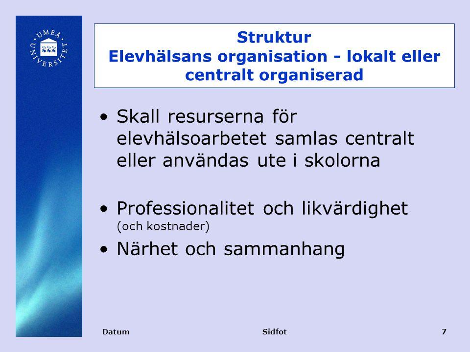 Struktur Elevhälsans organisation - lokalt eller centralt organiserad