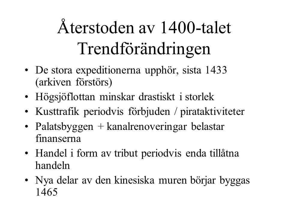 Återstoden av 1400-talet Trendförändringen