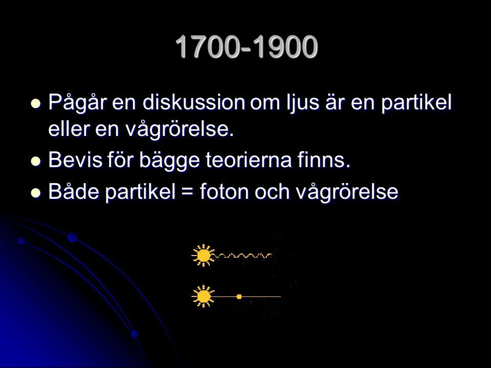 1700-1900 Pågår en diskussion om ljus är en partikel eller en vågrörelse. Bevis för bägge teorierna finns.