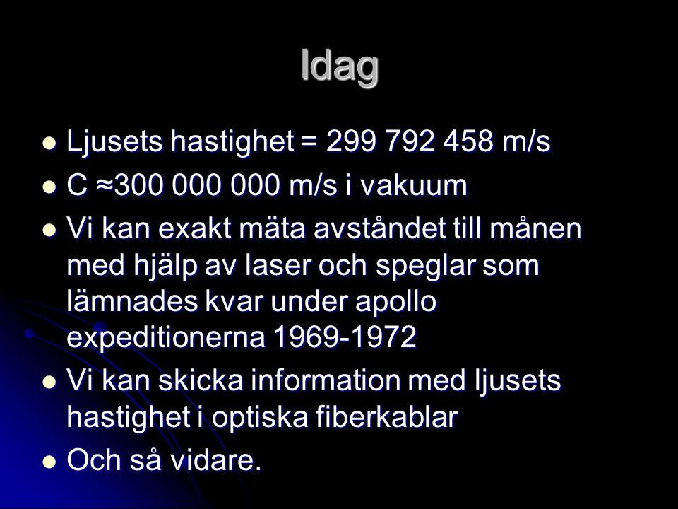 Idag Ljusets hastighet = 299 792 458 m/s C ≈300 000 000 m/s i vakuum