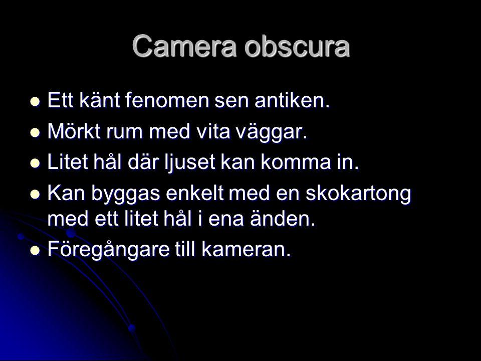 Camera obscura Ett känt fenomen sen antiken.