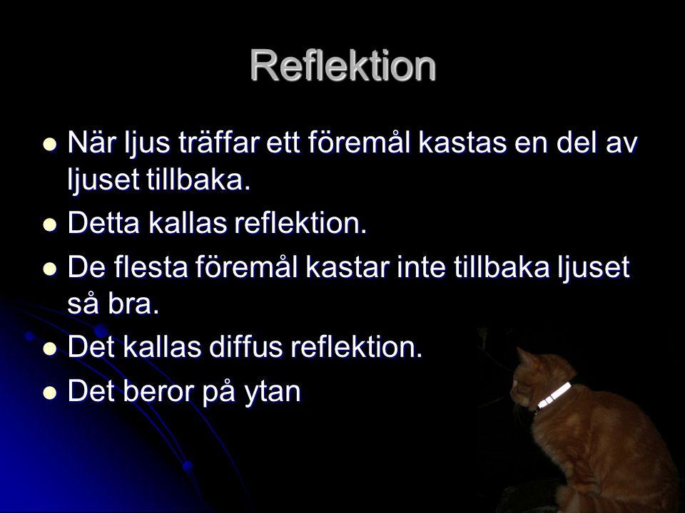 Reflektion När ljus träffar ett föremål kastas en del av ljuset tillbaka. Detta kallas reflektion.