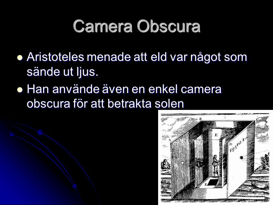 Camera Obscura Aristoteles menade att eld var något som sände ut ljus.