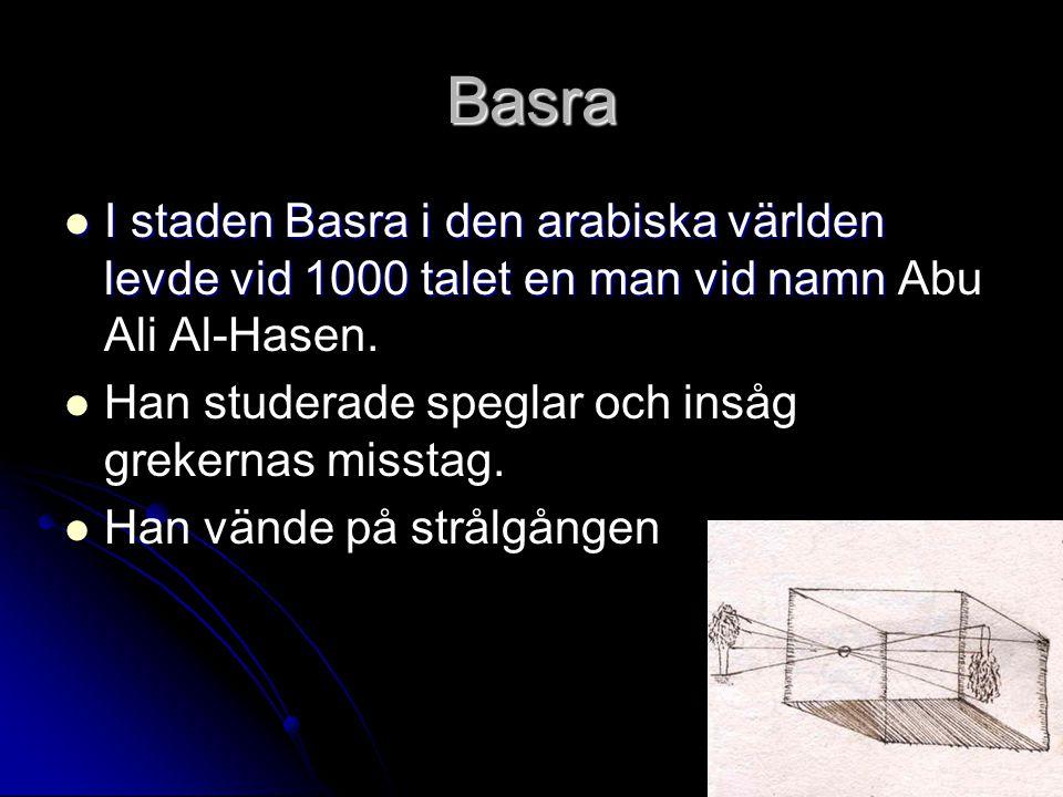 Basra I staden Basra i den arabiska världen levde vid 1000 talet en man vid namn Abu Ali Al-Hasen.