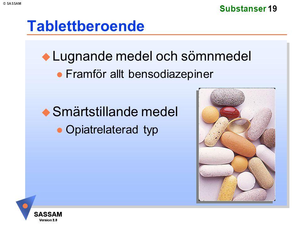 Tablettberoende Lugnande medel och sömnmedel Smärtstillande medel
