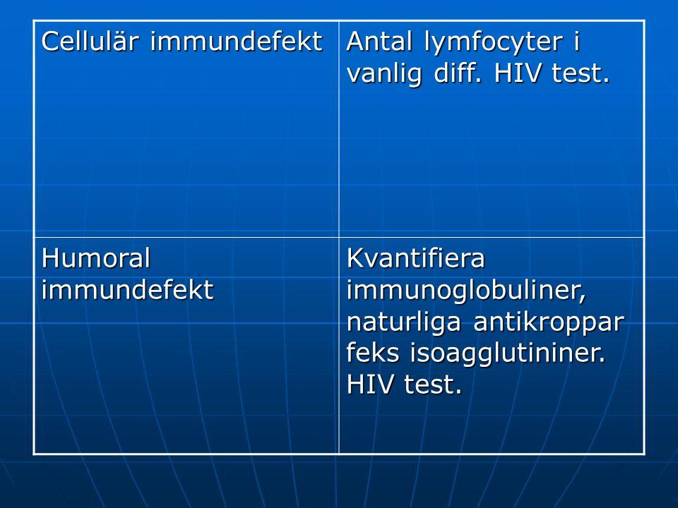 Cellulär immundefekt Antal lymfocyter i vanlig diff. HIV test. Humoral immundefekt.