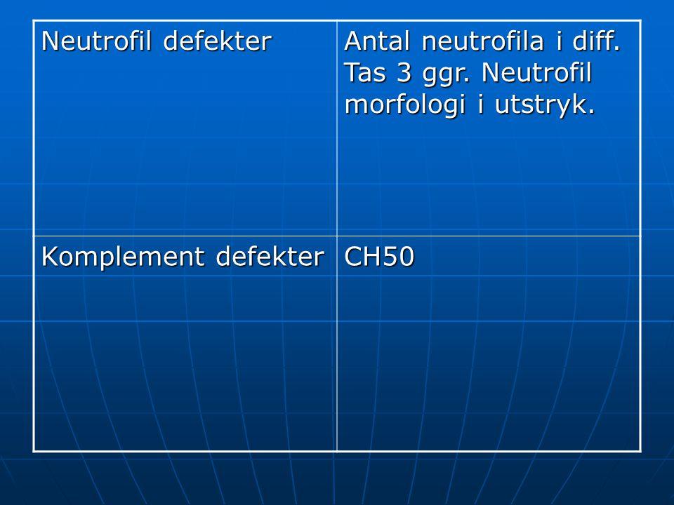 Neutrofil defekter Antal neutrofila i diff. Tas 3 ggr. Neutrofil morfologi i utstryk. Komplement defekter.