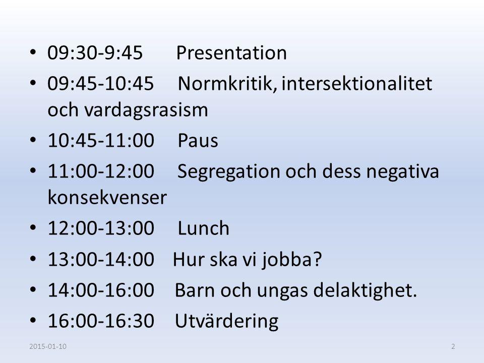 09:45-10:45 Normkritik, intersektionalitet och vardagsrasism