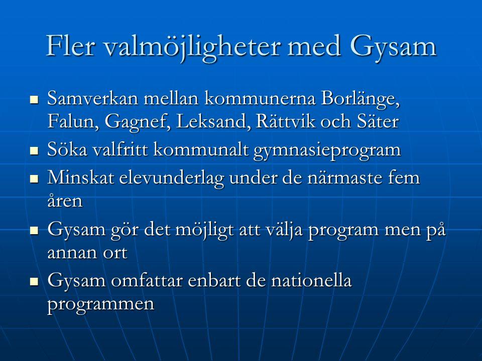 Fler valmöjligheter med Gysam