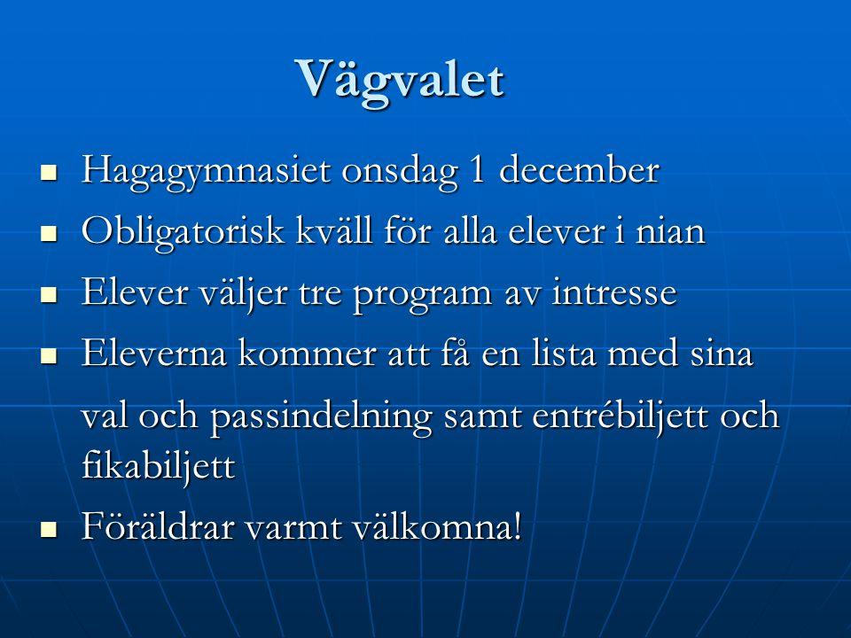 Vägvalet Hagagymnasiet onsdag 1 december