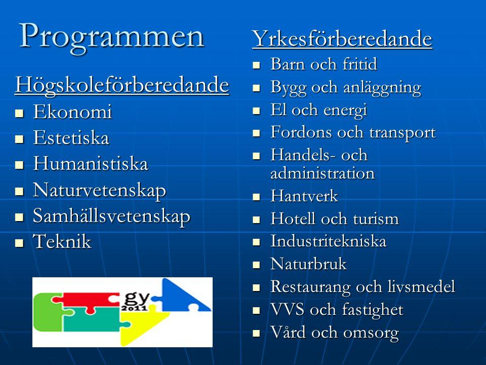 Programmen Yrkesförberedande Högskoleförberedande Ekonomi Estetiska