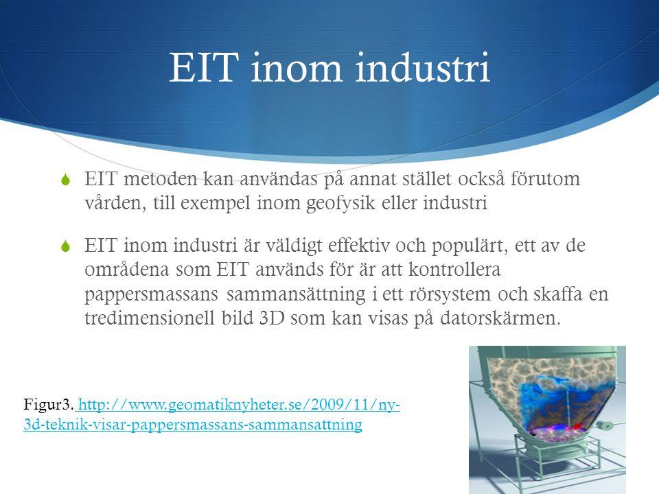 EIT inom industri EIT metoden kan användas på annat stället också förutom vården, till exempel inom geofysik eller industri.