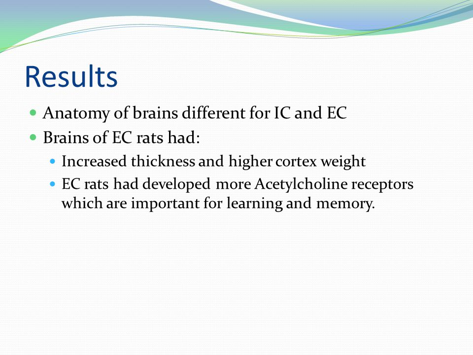 Results Anatomy of brains different for IC and EC