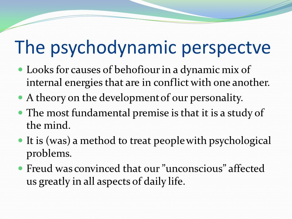 The psychodynamic perspectve