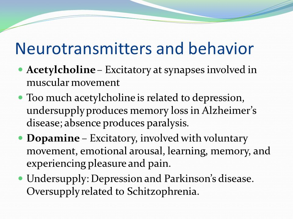 Neurotransmitters and behavior