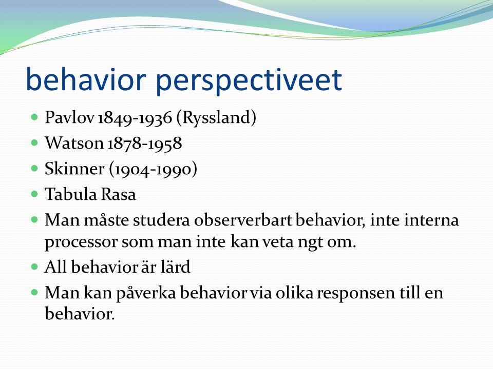 behavior perspectiveet