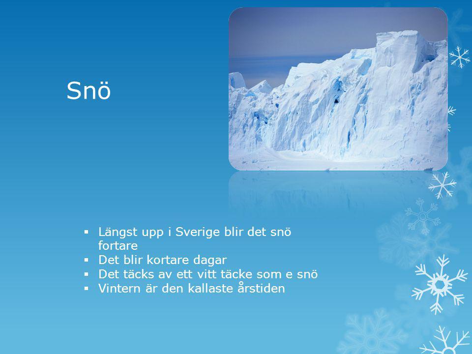 Snö Längst upp i Sverige blir det snö fortare Det blir kortare dagar