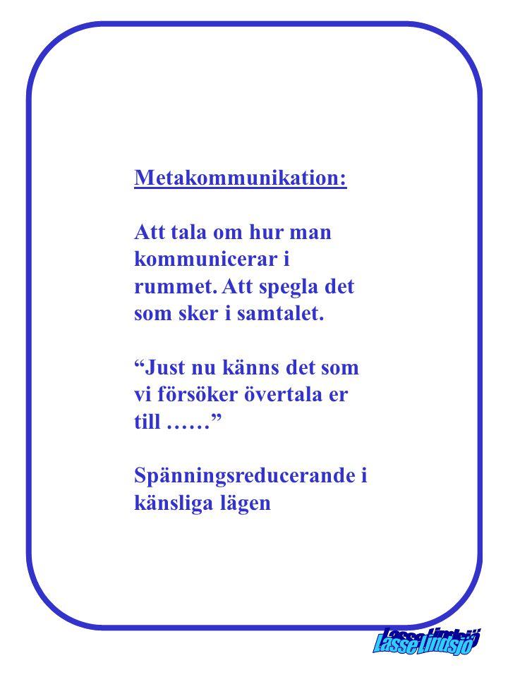 Metakommunikation: Att tala om hur man kommunicerar i rummet. Att spegla det som sker i samtalet.