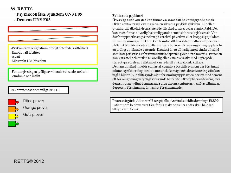 - Psykisk ohälsa/Sjukdom UNS F09 - Demens UNS F03