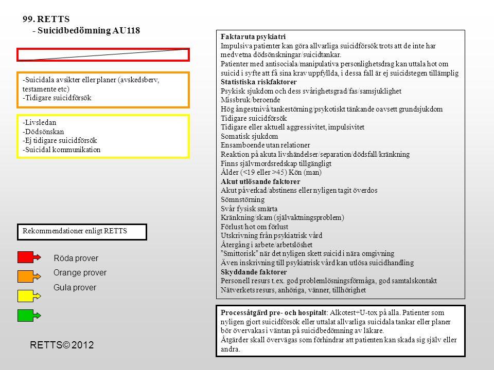 99. RETTS - Suicidbedömning AU118 RETTS© 2012 Röda prover
