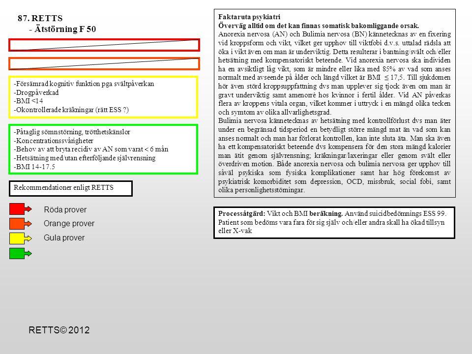 87. RETTS - Ätstörning F 50 RETTS© 2012 Röda prover Orange prover