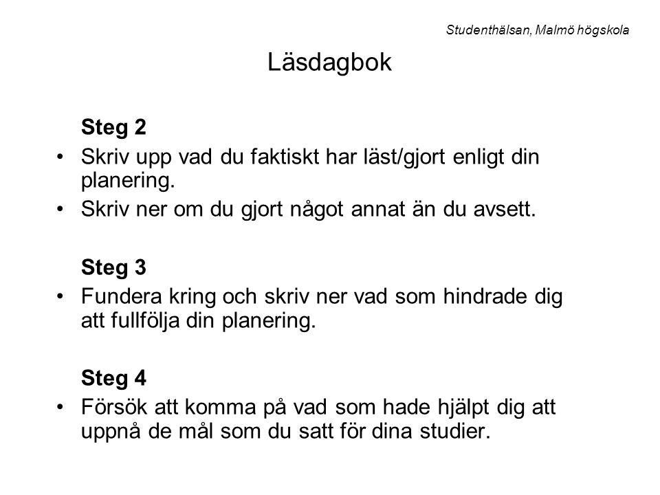 Läsdagbok Studenthälsan, Malmö högskola. Steg 2. Skriv upp vad du faktiskt har läst/gjort enligt din planering.