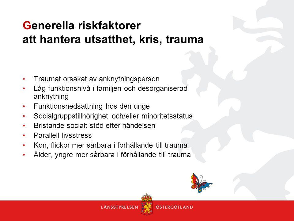Generella riskfaktorer att hantera utsatthet, kris, trauma