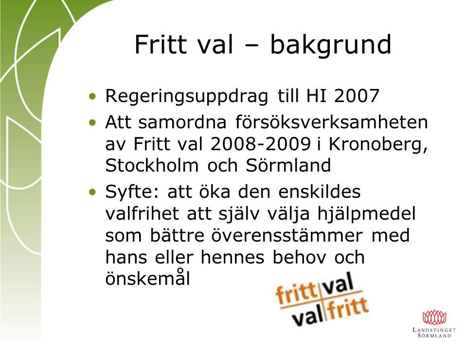 Fritt val – bakgrund Regeringsuppdrag till HI 2007