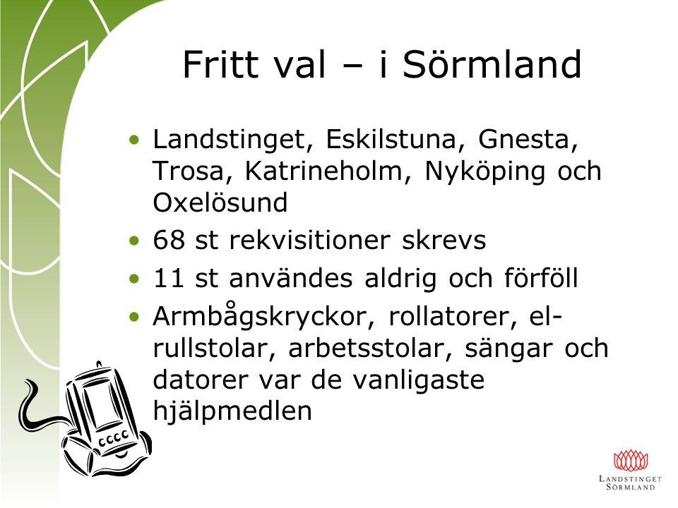Fritt val – i Sörmland Landstinget, Eskilstuna, Gnesta, Trosa, Katrineholm, Nyköping och Oxelösund.