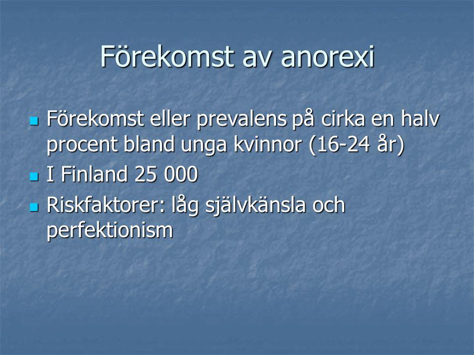 Förekomst av anorexi Förekomst eller prevalens på cirka en halv procent bland unga kvinnor (16-24 år)