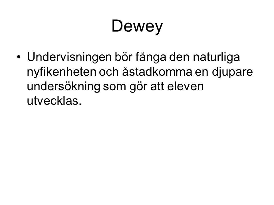 Dewey Undervisningen bör fånga den naturliga nyfikenheten och åstadkomma en djupare undersökning som gör att eleven utvecklas.