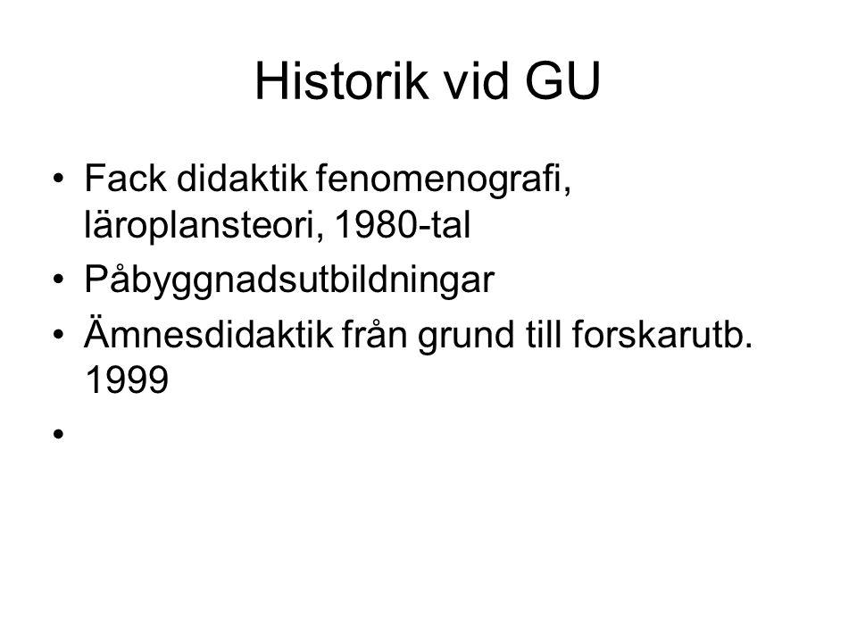 Historik vid GU Fack didaktik fenomenografi, läroplansteori, 1980-tal