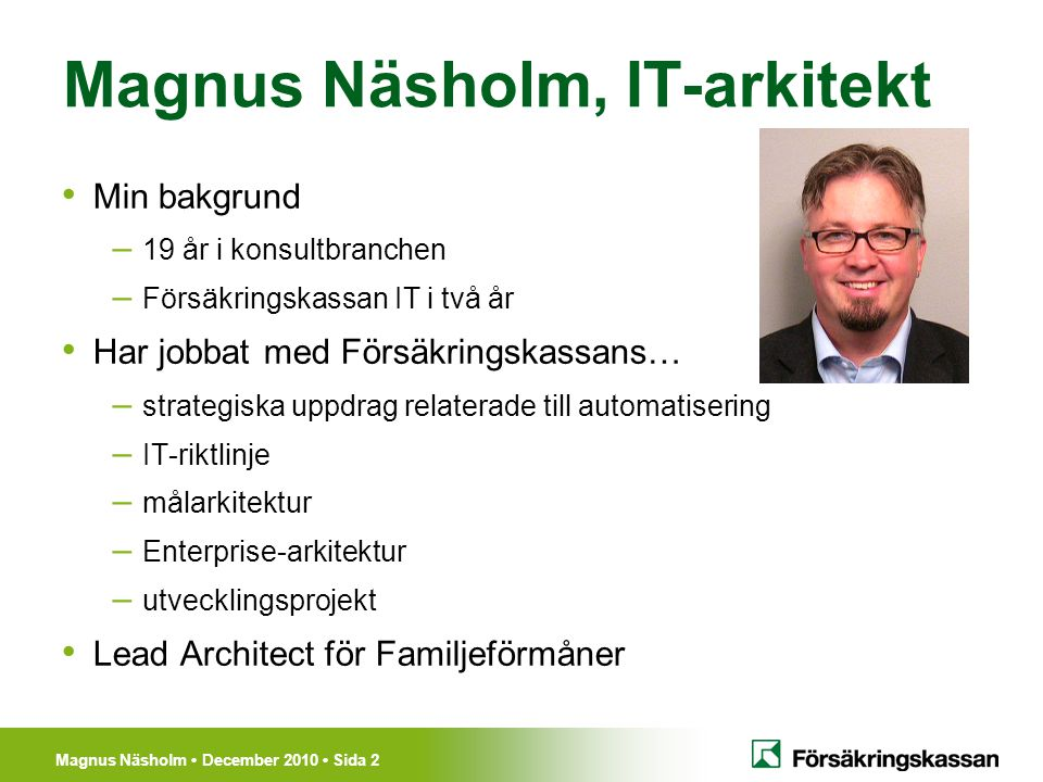 Magnus Näsholm, IT-arkitekt