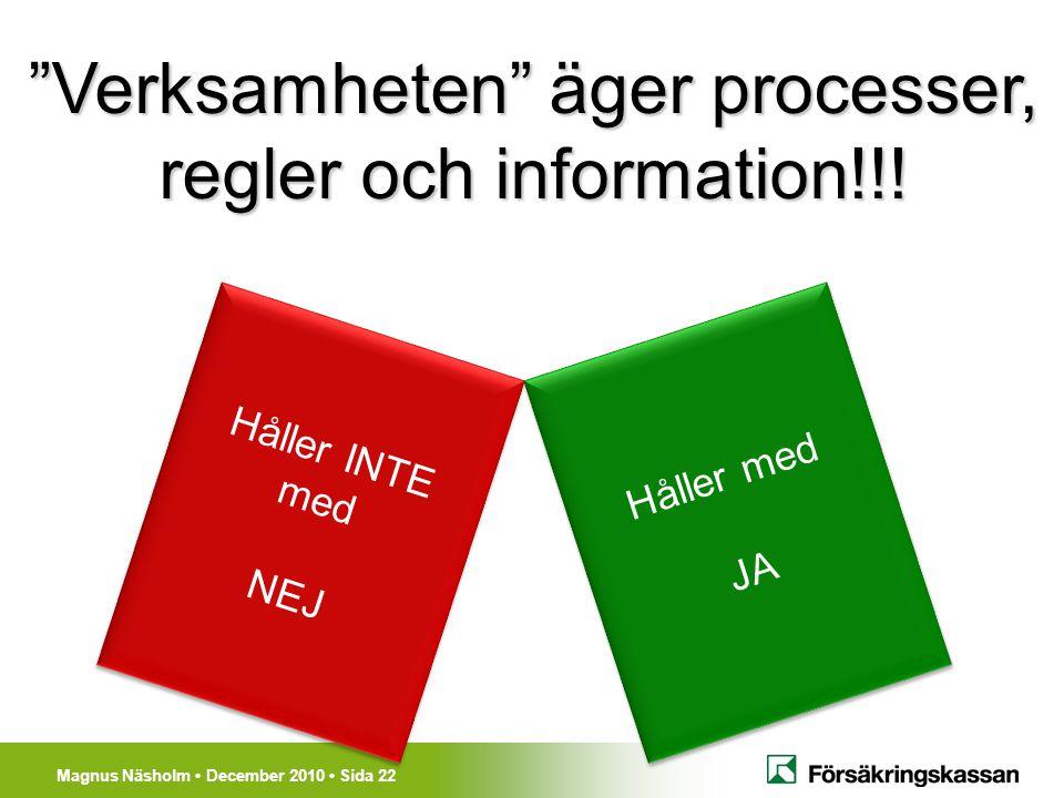 Verksamheten äger processer, regler och information!!!