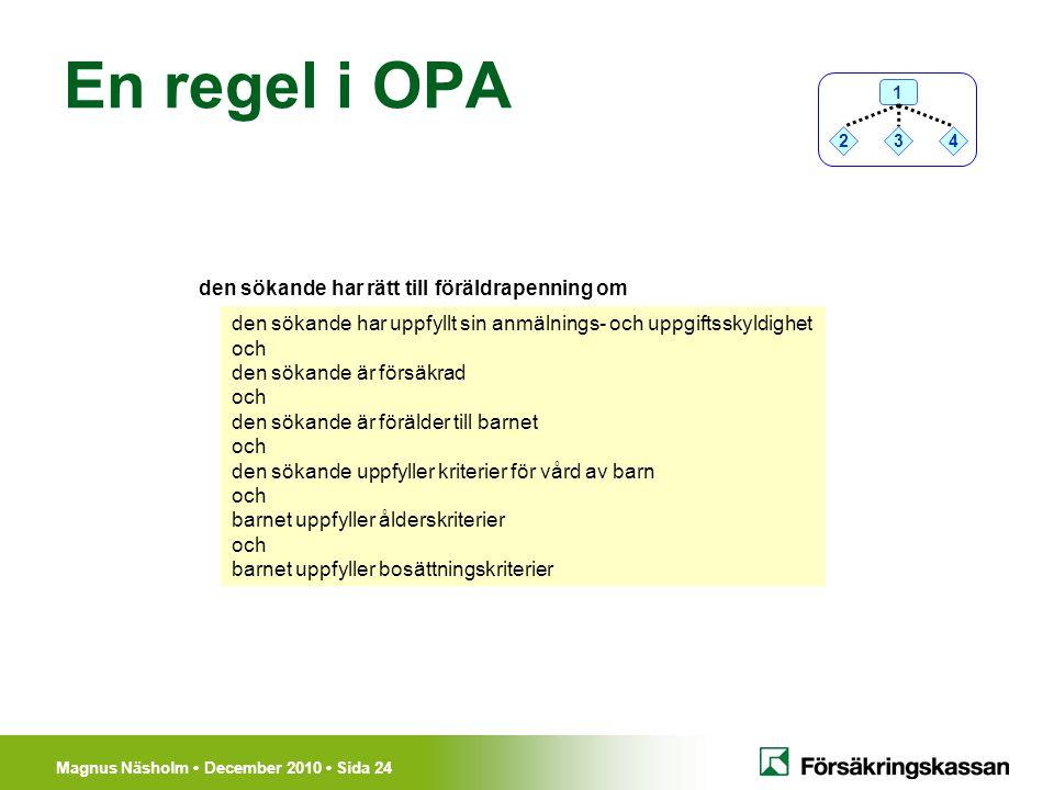 En regel i OPA den sökande har rätt till föräldrapenning om