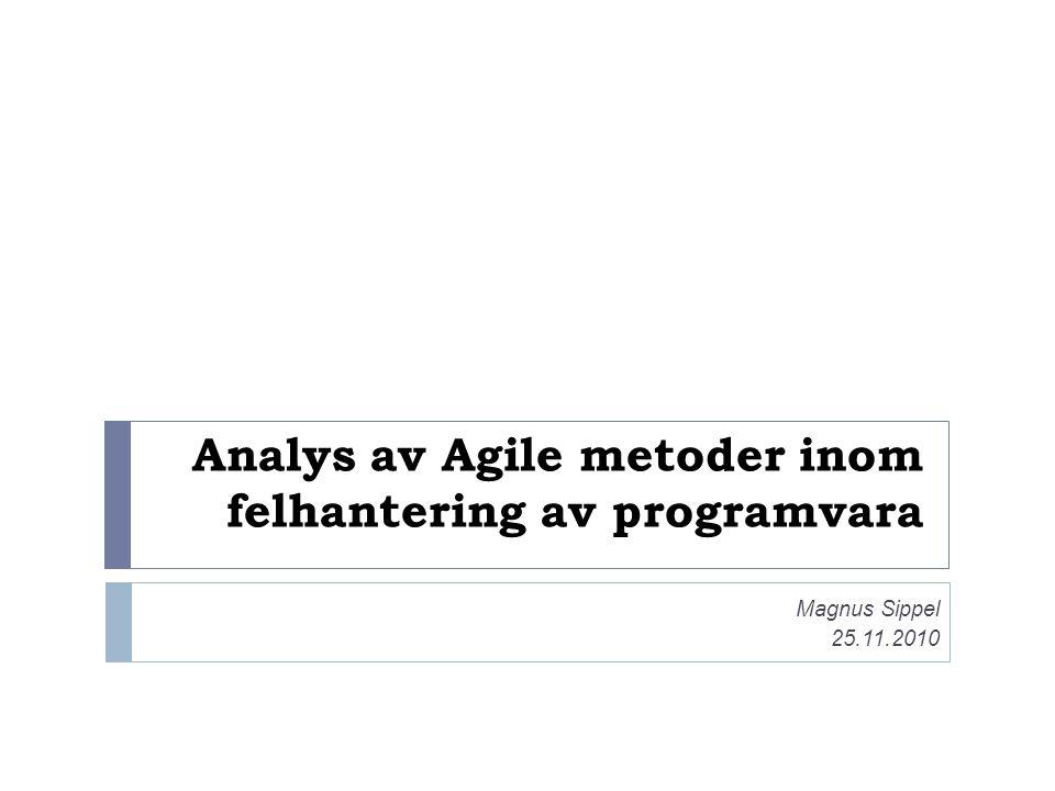 Analys av Agile metoder inom felhantering av programvara