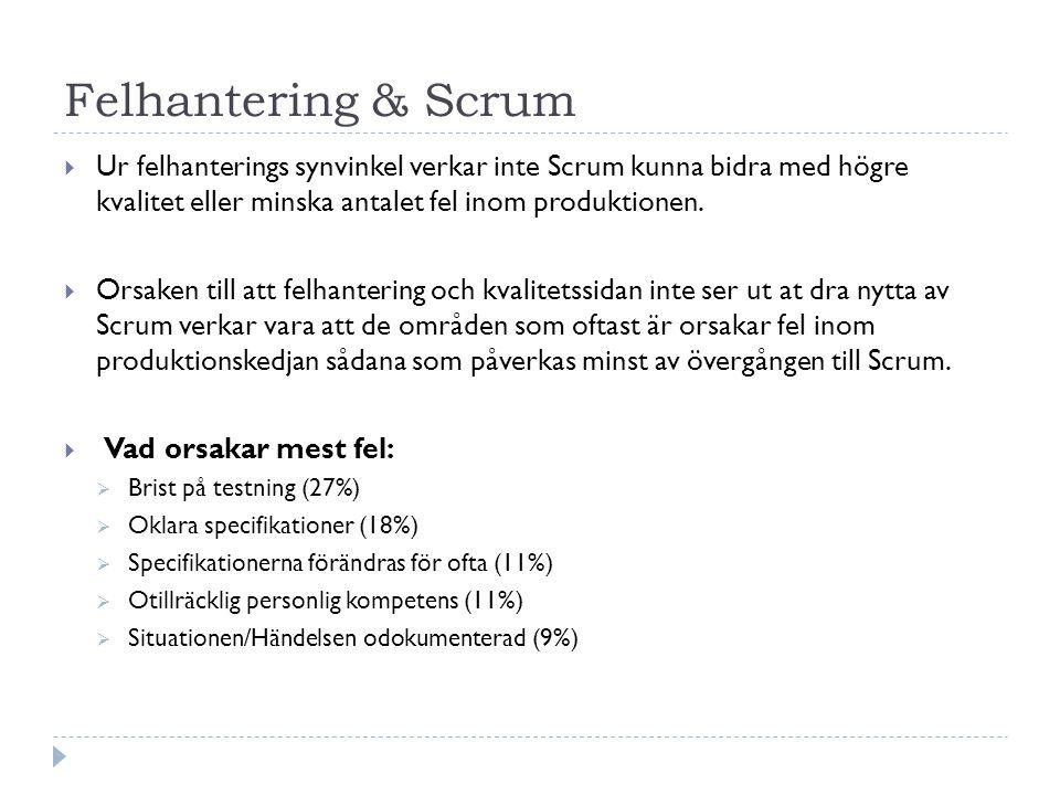 Felhantering & Scrum Ur felhanterings synvinkel verkar inte Scrum kunna bidra med högre kvalitet eller minska antalet fel inom produktionen.
