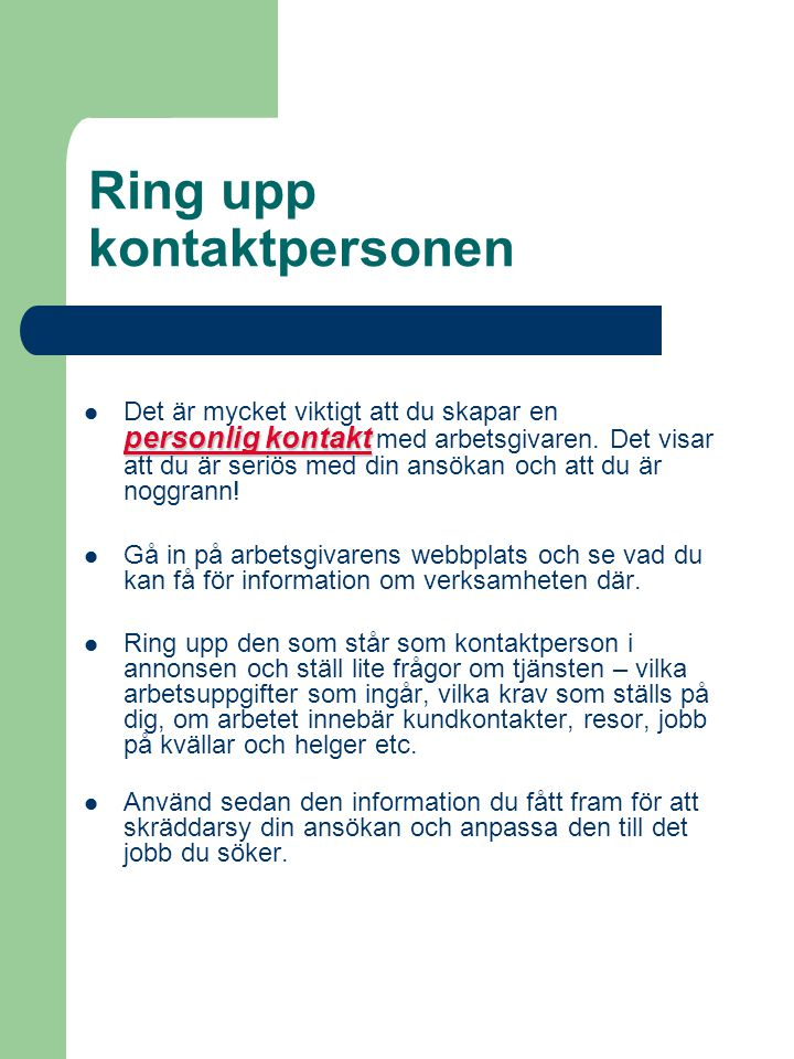 Ring upp kontaktpersonen