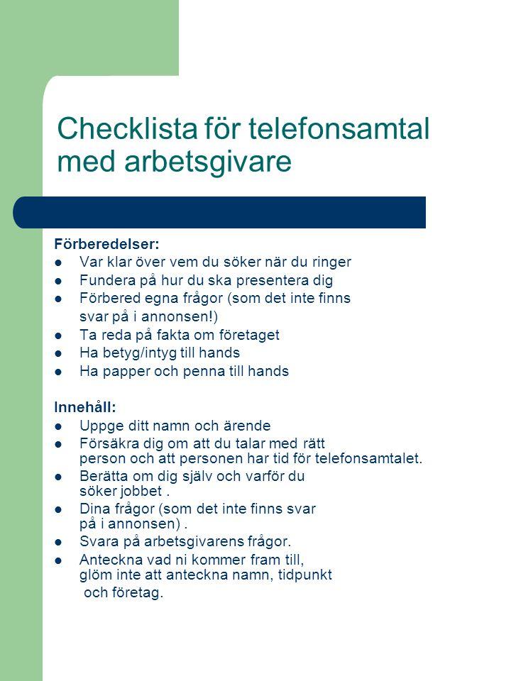 Checklista för telefonsamtal med arbetsgivare