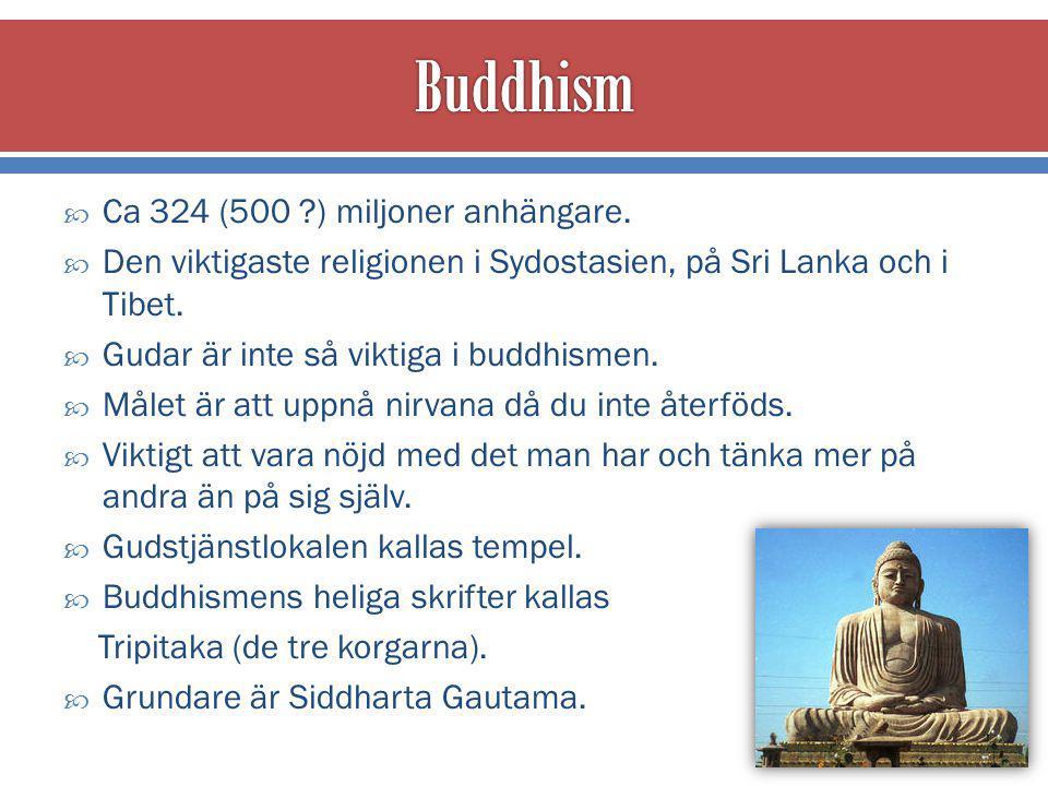 Buddhism Ca 324 (500 ) miljoner anhängare.