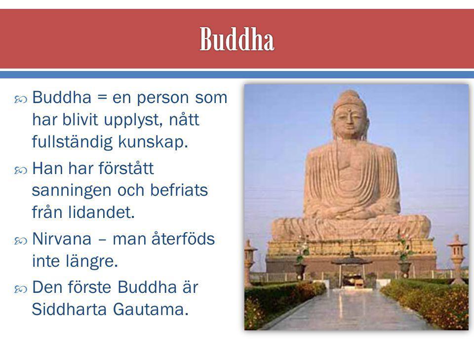 Buddha Buddha = en person som har blivit upplyst, nått fullständig kunskap. Han har förstått sanningen och befriats från lidandet.