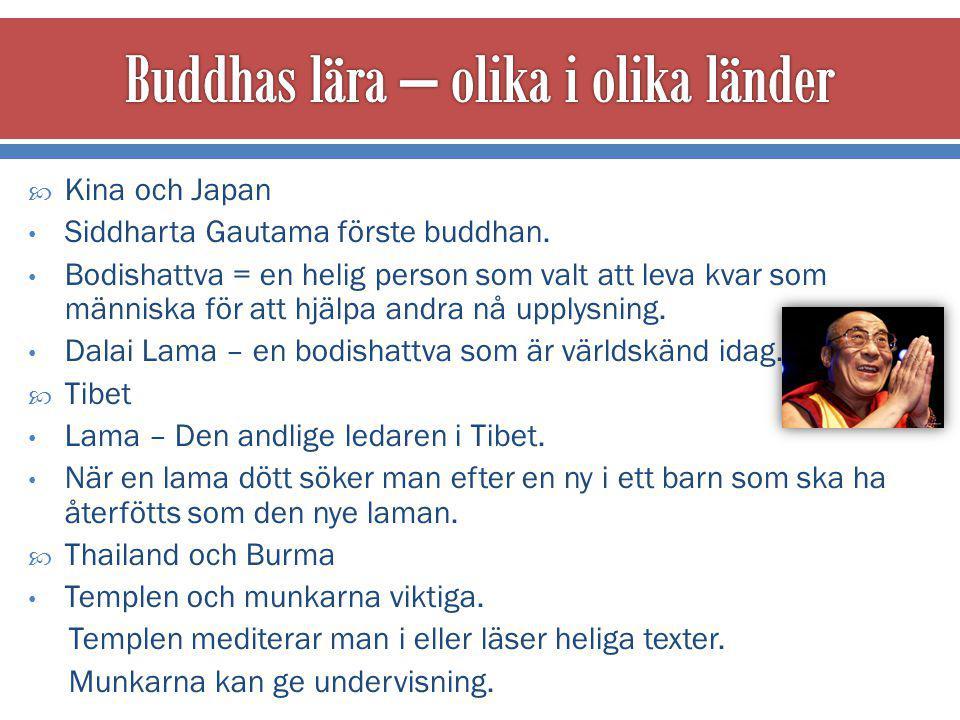 Buddhas lära – olika i olika länder