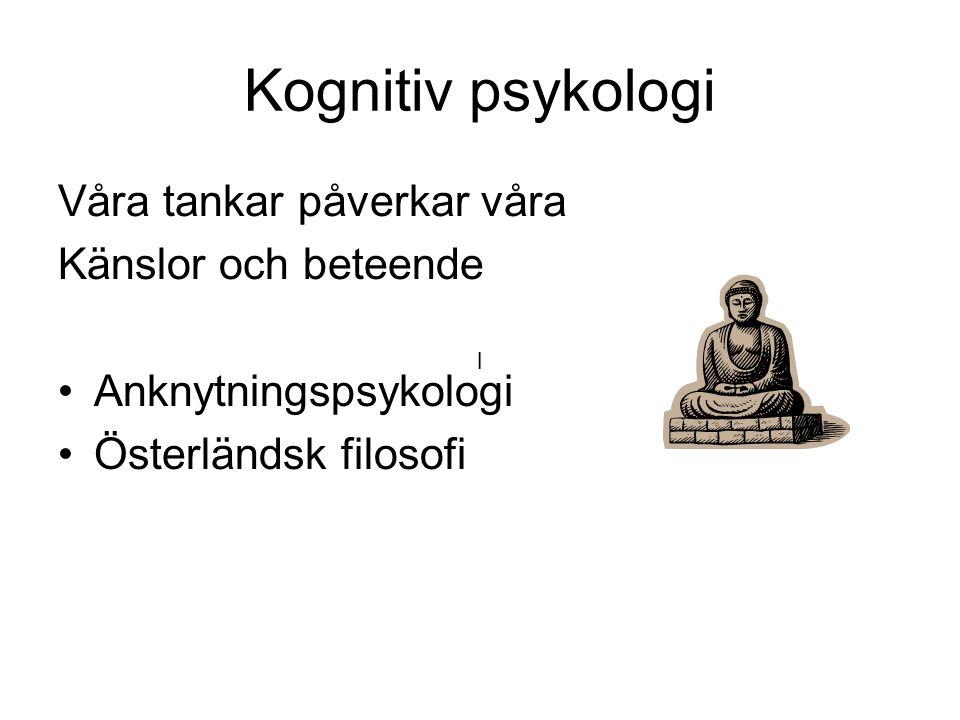 Kognitiv psykologi Våra tankar påverkar våra Känslor och beteende